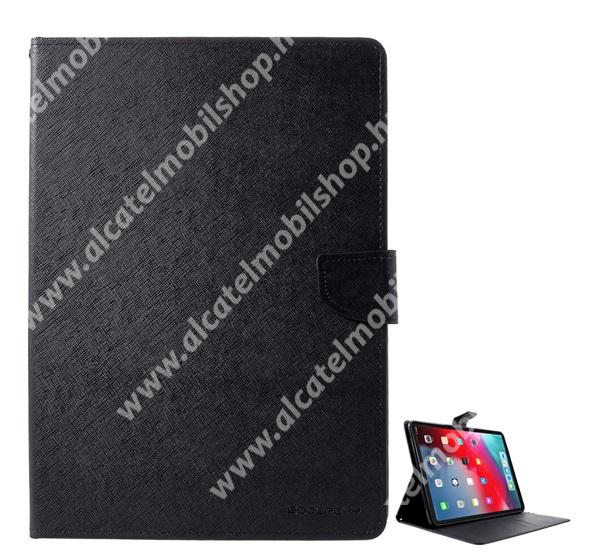 MERCURY Fancy Diary tok álló / flip tok - asztali tartó funkciós, oldalra nyíló, rejtett mágneses záródás, bankkártya tartó zseb - FEKETE - APPLE iPad Pro 12.9 (2018) - GYÁRI