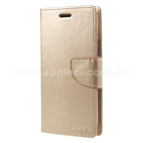 APPLE iPhone XSMERCURY notesz / mappa tok - ARANY - oldalra nyíló flip cover, mágneses záródás, asztali tartó funkció, bankkártyatartó zseb, szilikon belső - APPLE iPhone X / APPLE iPhone XS - GYÁRI