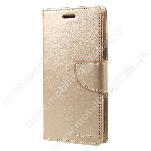 MERCURY notesz / mappa tok - ARANY - oldalra nyíló flip cover, mágneses záródás, asztali tartó funkció, bankkártyatartó zseb, szilikon belső - APPLE iPhone X / APPLE iPhone XS - GYÁRI