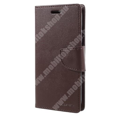 APPLE iPhone XS MERCURY notesz / mappa tok - BARNA - oldalra nyíló flip cover, mágneses záródás, asztali tartó funkció, bankkártyatartó zseb, szilikon belső - APPLE iPhone X / APPLE iPhone XS - GYÁRI