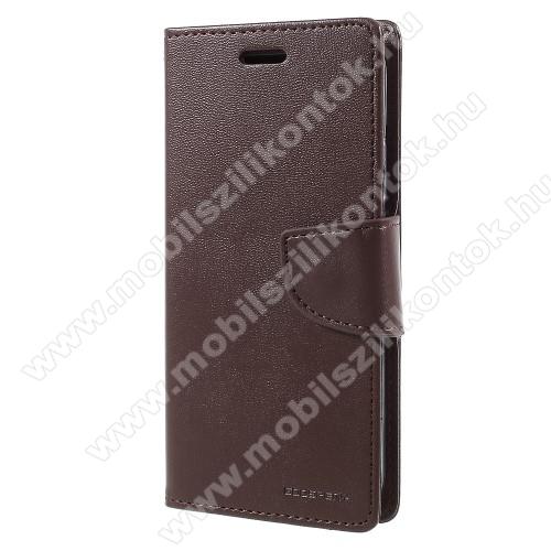 MERCURY notesz / mappa tok - BARNA - oldalra nyíló flip cover, mágneses záródás, asztali tartó funkció, bankkártyatartó zseb, szilikon belső - APPLE iPhone X / APPLE iPhone XS - GYÁRI