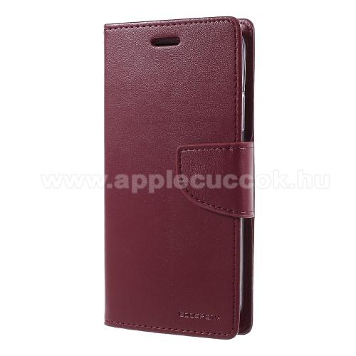 MERCURY notesz / mappa tok - BORDÓ - oldalra nyíló flip cover, mágneses záródás, asztali tartó funkció, bankkártyatartó zseb, szilikon belső - APPLE iPhone X / APPLE iPhone XS - GYÁRI