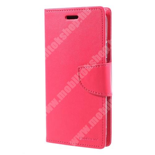 APPLE iPhone XS MERCURY notesz / mappa tok - RÓZSASZÍN - oldalra nyíló flip cover, mágneses záródás, asztali tartó funkció, bankkártyatartó zseb, szilikon belső - APPLE iPhone X / APPLE iPhone XS - GYÁRI