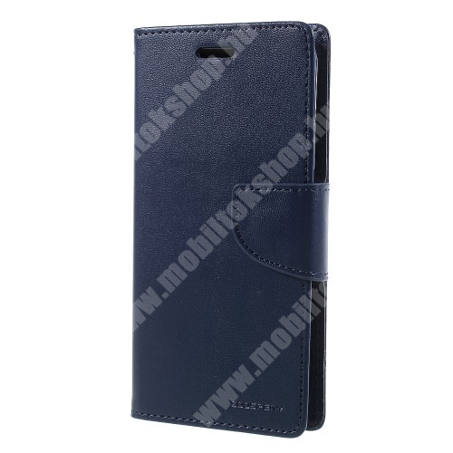 APPLE iPhone XS MERCURY notesz / mappa tok - SÖTÉTKÉK - oldalra nyíló flip cover, mágneses záródás, asztali tartó funkció, bankkártyatartó zseb, szilikon belső - APPLE iPhone X / APPLE iPhone XS - GYÁRI