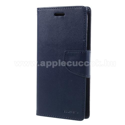 APPLE iPhone XSMERCURY notesz / mappa tok - SÖTÉTKÉK - oldalra nyíló flip cover, mágneses záródás, asztali tartó funkció, bankkártyatartó zseb, szilikon belső - APPLE iPhone X / APPLE iPhone XS - GYÁRI