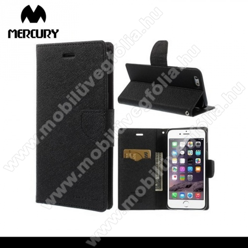 Mercury notesz tok/ flip tok - asztali tartó funkciós, oldalra nyíló, rejtett mágneses záródás, bankkártya tartó zsebekkel - FEKETE - APPLE iPhone 6 Plus