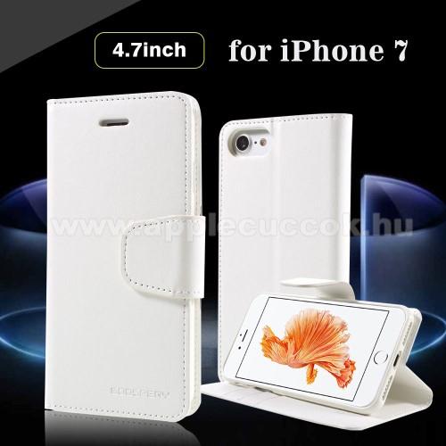 Mercury notesz tok/ flip tok - FEHÉR - asztali tartó funkciós, oldalra nyíló, rejtett mágneses záródás, bankkártya tartó zsebekkel - APPLE iPhone 7 (4.7) - GYÁRI