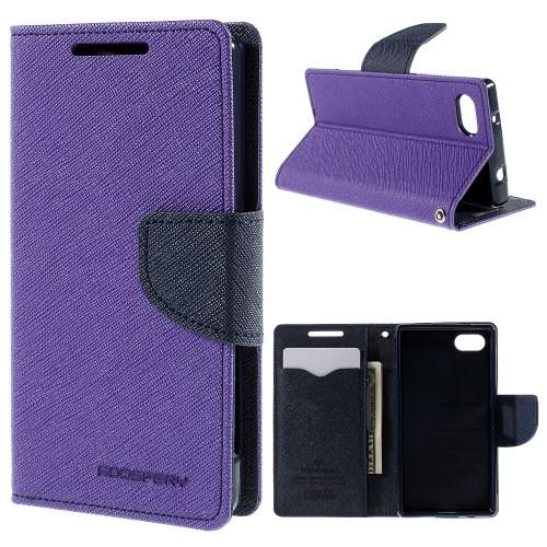 MERCURY notesz tok / flip tok - LILA / SÖTÉTKÉK - asztali tartó funkciós, oldalra nyíló, rejtett mágneses záródás, bankkártya tartó zsebekkel, szilikon belső - SONY Xperia Z5 Compact