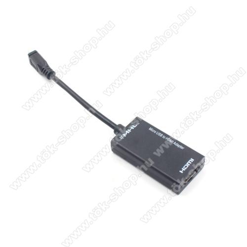 Micro USB Male / HDMI Female MHL (készülékfüggő) adapter - FEKETE