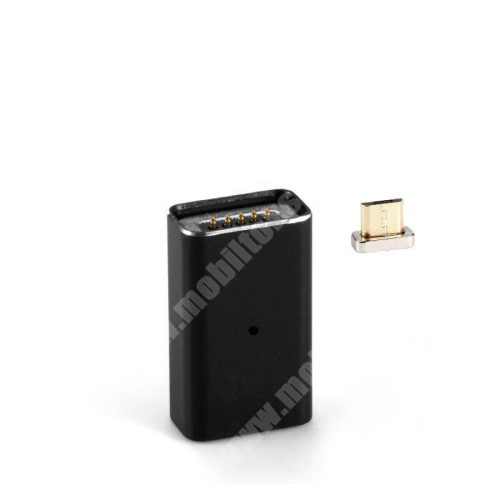 MOTOROLA Moto G4 MicroUSB Adapter - MicroUSB-t mágneses microUSB-re alakítja át - porvédőként is használható, alumínium, adatátvitelre is képes - FEKETE