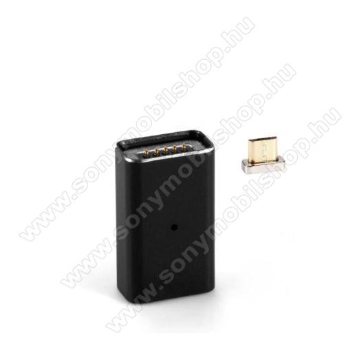 MicroUSB Adapter - MicroUSB-t mágneses microUSB-re alakítja át - porvédőként is használható, alumínium, adatátvitelre is képes - FEKETE