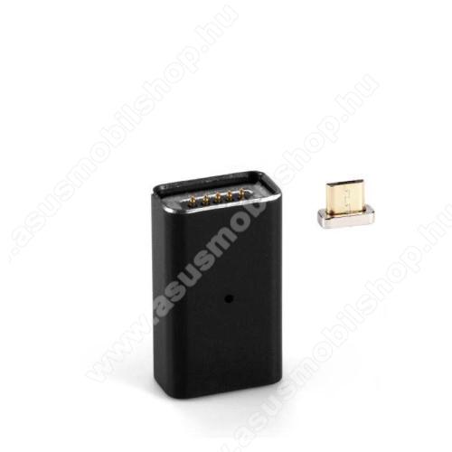 ASUS Zenfone Go (ZB450KL)MicroUSB Adapter - MicroUSB-t mágneses microUSB-re alakítja át - porvédőként is használható, alumínium, adatátvitelre is képes - FEKETE