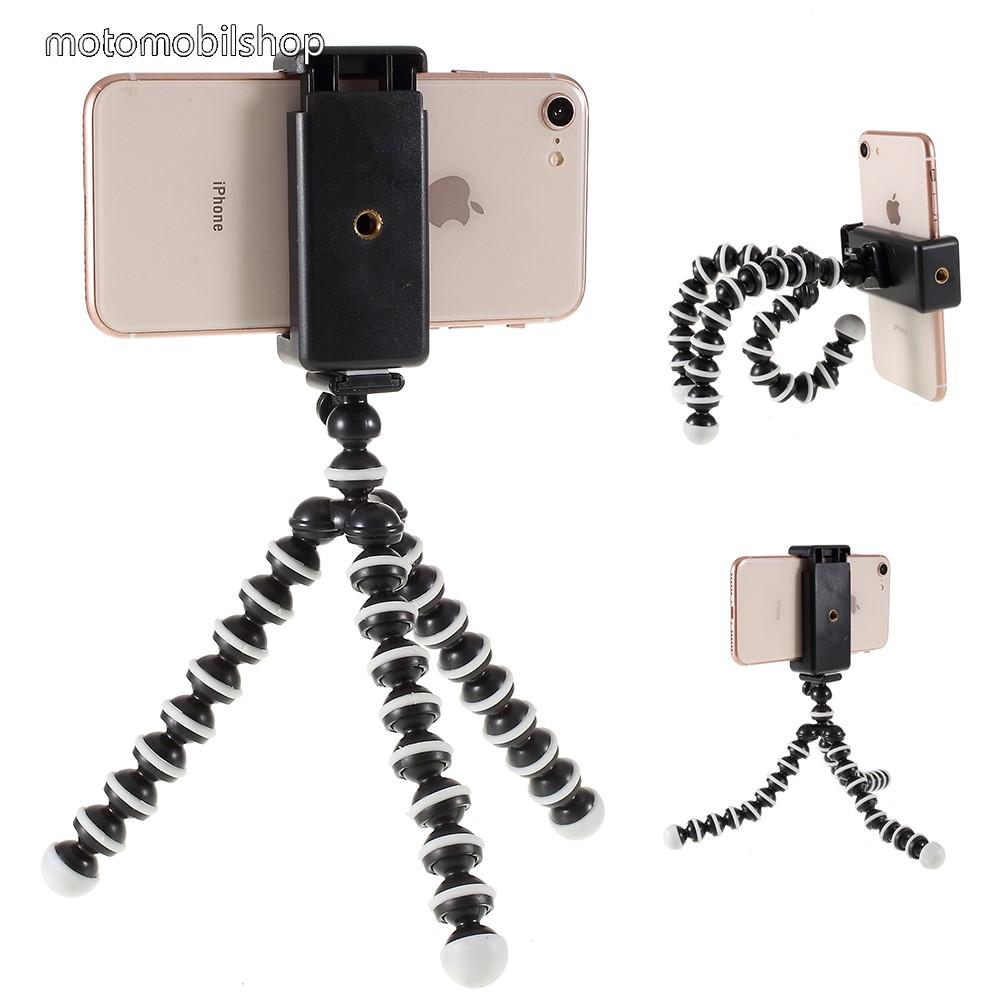 MOTOROLA Moto G8 Plus Mini Octopus Gorillapod TRIPOD állvány - 60-85mm-es bölcsővel, max 28cm magas, 360 fokban forgatható, flexibilis lábakkal - FEKETE