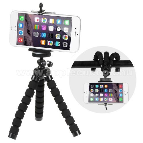 APPLE IPhone 5SMini TRIPOD állvány - 55-85mm-es bölcsővel, 360 fokban forgatható, flexibilis lábakkal - FEKETE