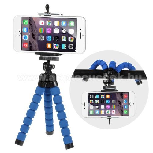 APPLE IPhone 5SMini TRIPOD állvány - 55-85mm-es bölcsővel, 360 fokban forgatható, flexibilis lábakkal - KÉK