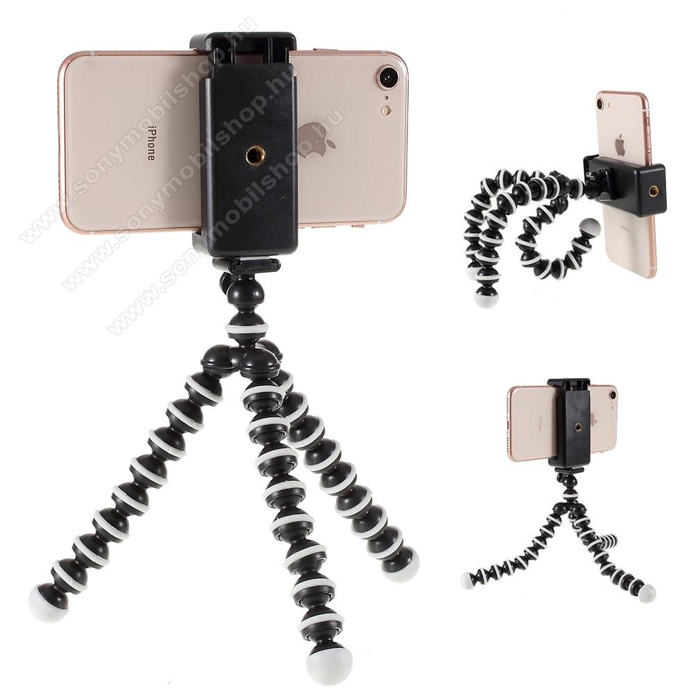 Mini TRIPOD állvány - 60-85mm-es bölcsővel, max 28cm magas, 360 fokban forgatható, flexibilis lábakkal - FEKETE