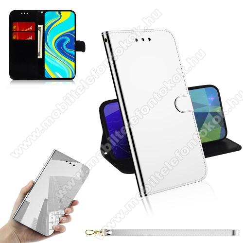 Mirror notesz tok / flip tok - EZÜST - tükrös felület, asztali tartó funkciós, oldalra nyíló, rejtett mágneses záródás, bankkártyatartó zseb, szilikon belső - Xiaomi Redmi Note 9S / Redmi Note 9 Pro / Redmi Note 9 Pro Max / Poco M2 Pro
