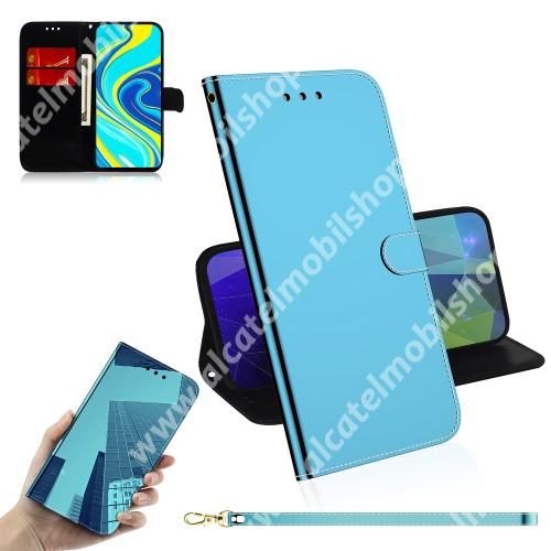 Mirror notesz tok / flip tok - KÉK - tükrös felület, asztali tartó funkciós, oldalra nyíló, rejtett mágneses záródás, bankkártyatartó zseb, szilikon belső - Xiaomi Redmi Note 9S / Redmi Note 9 Pro / Redmi Note 9 Pro Max / Poco M2 Pro