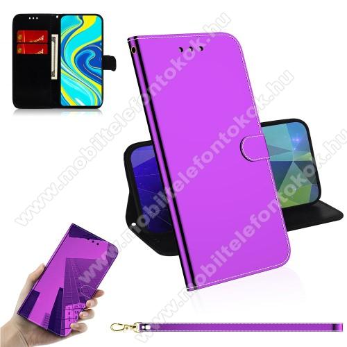Mirror notesz tok / flip tok - LILA - tükrös felület, asztali tartó funkciós, oldalra nyíló, rejtett mágneses záródás, bankkártyatartó zseb, szilikon belső - Xiaomi Redmi Note 9S / Redmi Note 9 Pro / Redmi Note 9 Pro Max / Poco M2 Pro