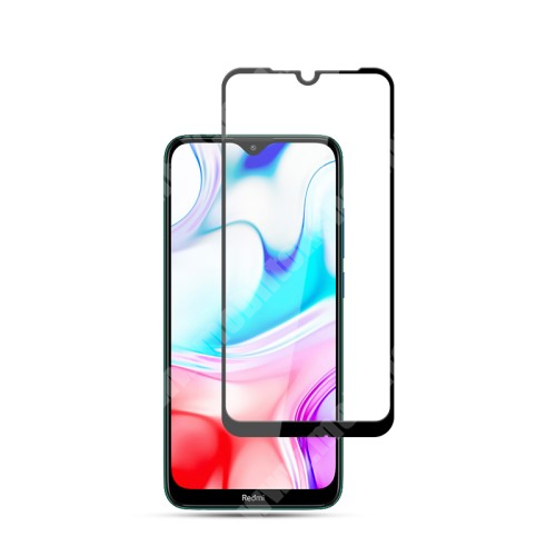 MOCOLO előlap védő karcálló edzett üveg, TELJES KIJELZŐT VÉDI - FEKETE - 9H, 0,33mm, Arc Edge, A teljes felületén tapad! - Xiaomi Redmi 8 / Xiaomi Redmi 8A - GYÁRI
