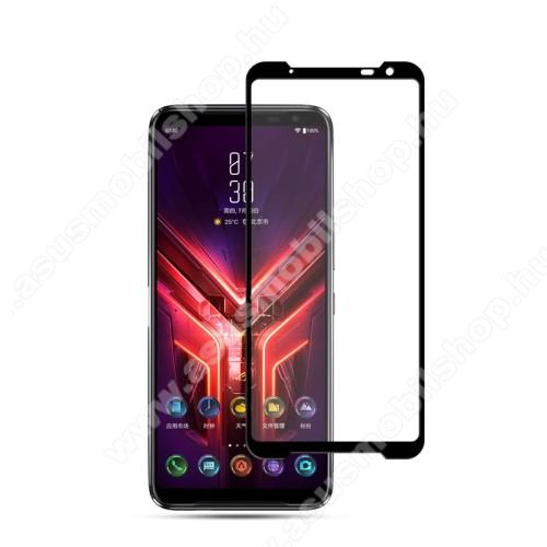 MOCOLO előlap védő karcálló edzett üveg, TELJES KIJELZŐT VÉDI - FEKETE - 9H, 0,33mm, Arc Edge, A teljes felületén tapad! - ASUS ROG Phone 3 (ZS661KS) / ASUS ROG Phone 3 Strix - GYÁRI