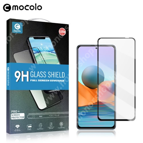 MOCOLO előlap védő karcálló edzett üveg, TELJES KIJELZŐT VÉDI - FEKETE - 9H, 0,33mm, Arc Edge, A teljes felületén tapad! - Xiaomi Redmi Note 10 Pro / Redmi Note 10 Pro Max - GYÁRI