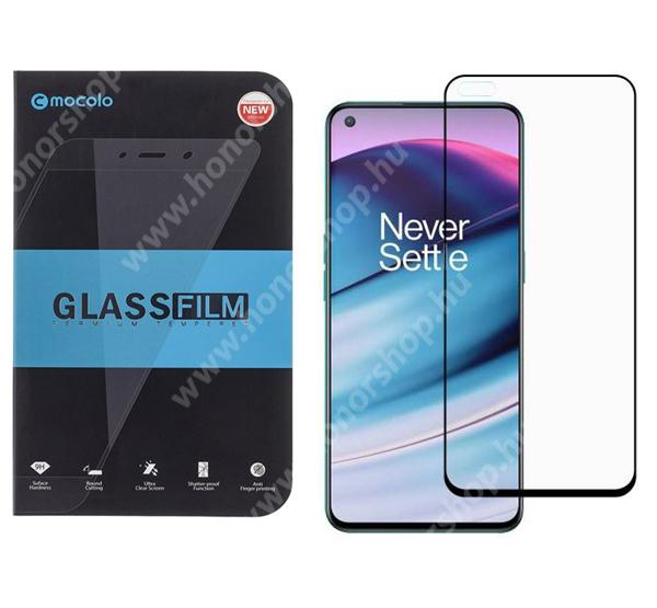 MOCOLO előlap védő karcálló edzett üveg - FEKETE - 9H, 0,33mm, Arc Edge, A teljes felületén tapad, a teljes kijelzőt védi - OnePlus Nord CE 5G - GYÁRI