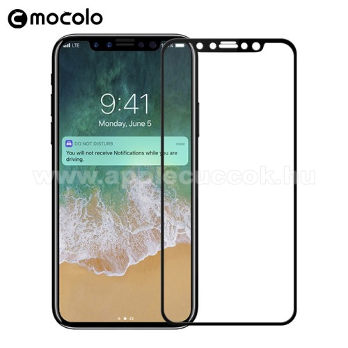 APPLE iPhone X MOCOLO előlap védő karcálló edzett üveg, TELJES KIJELZŐT VÉDI - FEKETE - 0,33mm, arc edge - APPLE iPhone X / APPLE iPhone XS - GYÁRI