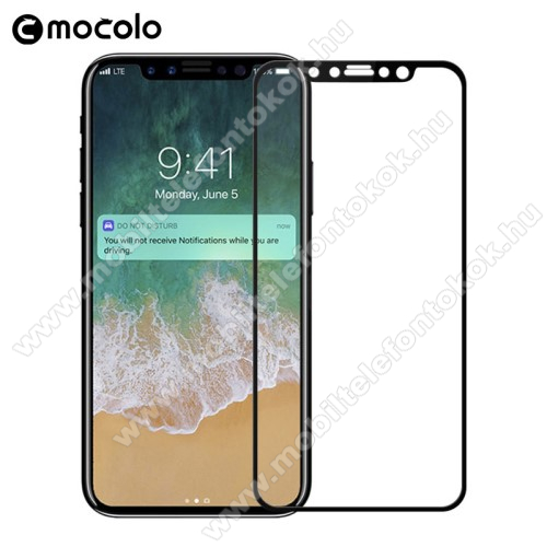 APPLE iPhone XS MOCOLO előlap védő karcálló edzett üveg, TELJES KIJELZŐT VÉDI - FEKETE - 0,33mm, arc edge - APPLE iPhone X / APPLE iPhone XS - GYÁRI