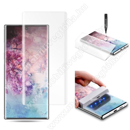 MOCOLO Full Glue UV Liquid előlap védő karcálló edzett üveg, 0.3mm, UV lámpával - ÁTLÁTSZÓ - SAMSUNG SM-N970F Galaxy Note10 / SAMSUNG SM-N971U Galaxy Note10 5G - A TELJES KIJELZŐT VÉDI! - GYÁRI