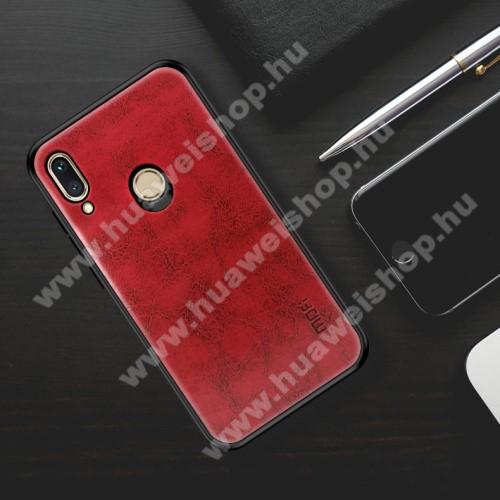 MOFI műanyag védő tok / bőr hátlap - PIROS - szilikon szegély - HUAWEI nova 3i / HUAWEI P Smart+ - GYÁRI