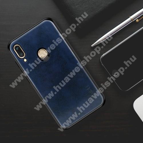 MOFI műanyag védő tok / bőr hátlap - SÖTÉTKÉK - szilikon szegély - HUAWEI nova 3i / HUAWEI P Smart+ - GYÁRI