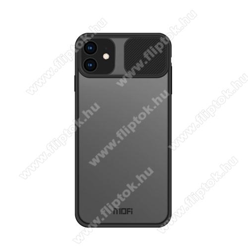 MOFI XINDUN Series műanyag  védő tok / átlátszó hátlap - szilikon betétes, kamera védő fedéllel, ERŐS VÉDELEM - FEKETE / ÁTLÁTSZÓ - APPLE iPhone 12 mini - GYÁRI