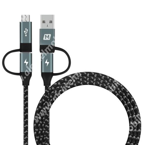 ALCATEL OT-208 MOMAX 4 az 1-ben adatatátviteli kábel / USB töltő - USB Type-C / Type-C, microUSB és USB átalakítóval, USB csatlakozás, 1.2m - FEKETE - GYÁRI