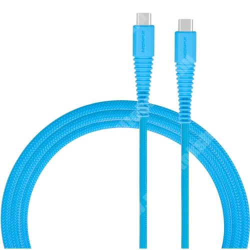 NOKIA X71 MOMAX USB Type-C / Type-C adatátviteli kábel / USB töltő 1,2 m, 3A - KÉK - GYÁRI
