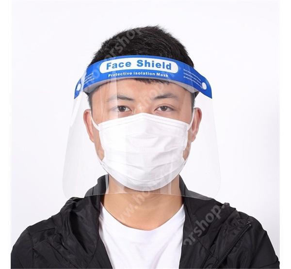 HUAWEI Honor V40 5G Műanyag arcvédő maszk, pajzs - fejre rögzíthető, rugalmas pánt, minden fejméretre jó, páragátló és antisztatikus