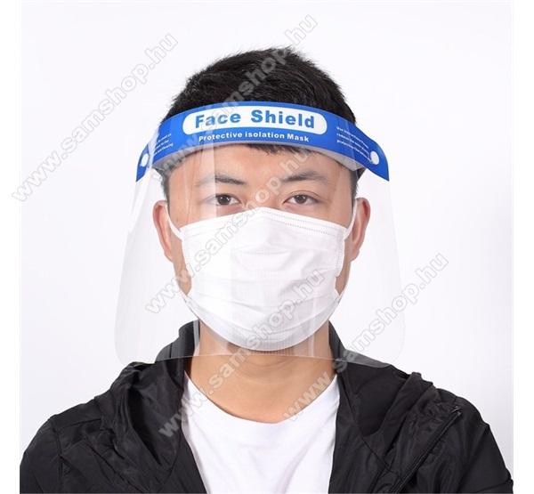 Műanyag arcvédő maszk, pajzs - fejre rögzíthető, rugalmas pánt, minden fejméretre jó, páragátló és antisztatikus