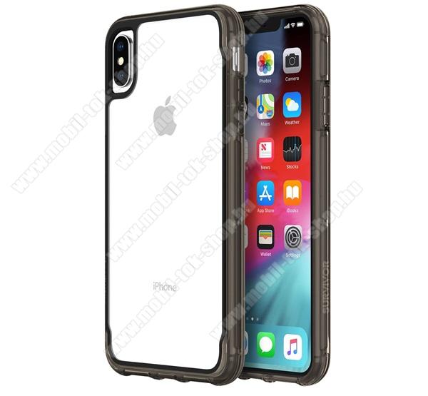 Műanyag telefonvédő SURVIVOR CLEAR (szilikon keret, átlátszó belső,1.2 méterig ütésálló) FEKETE - GIP-012-CBK - APPLE iPhone XS Max 6.5 - GYÁRI