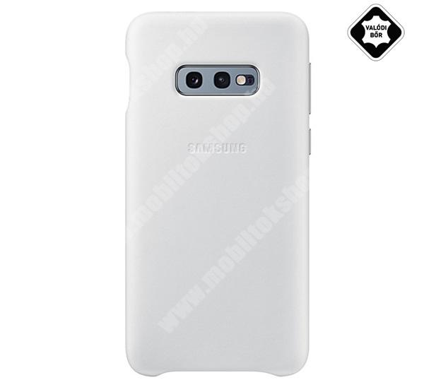 Műanyag telefonvédő (valódi bőr hátlap) FEHÉR - EF-VG970LWEGWW - SAMSUNG Galaxy S10e (SM-G970) - GYÁRI