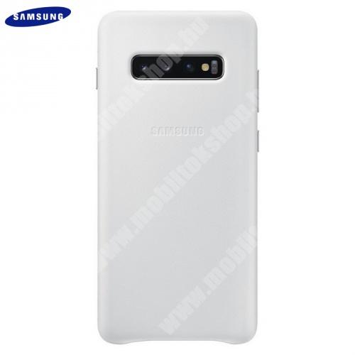Műanyag telefonvédő (valódi bőr hátlap) FEHÉR - EF-VG975LWEGWW - SAMSUNG Galaxy S10 Plus (SM-G975) - GYÁRI