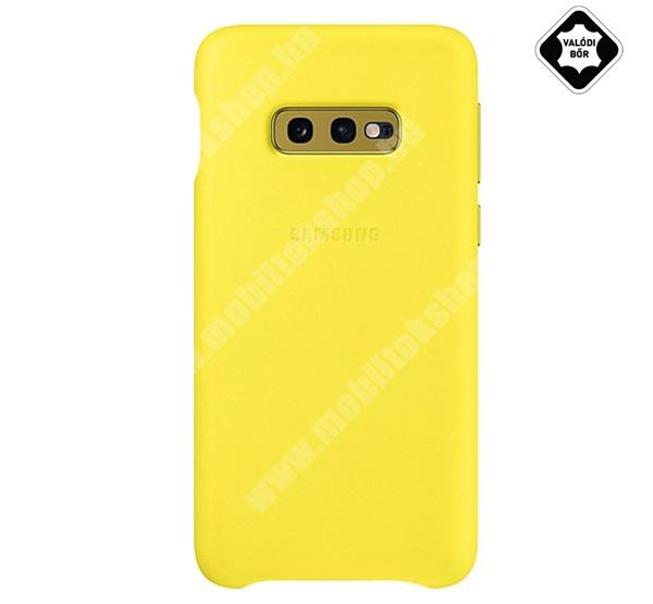 Műanyag telefonvédő (valódi bőr hátlap) SÁRGA - EF-VG970LYEGWW - SAMSUNG Galaxy S10e (SM-G970) - GYÁRI