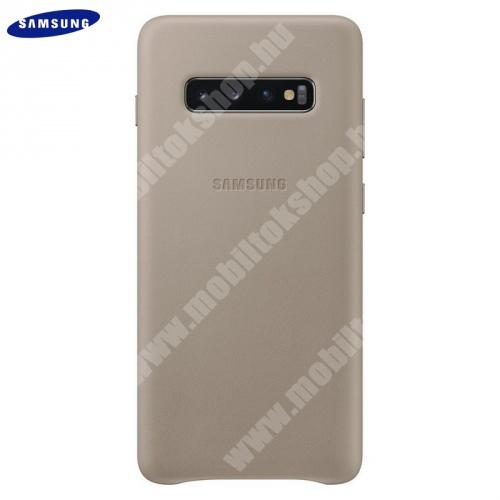 Műanyag telefonvédő (valódi bőr hátlap) SZÜRKE - EF-VG975LJEGWW - SAMSUNG Galaxy S10 Plus (SM-G975) - GYÁRI