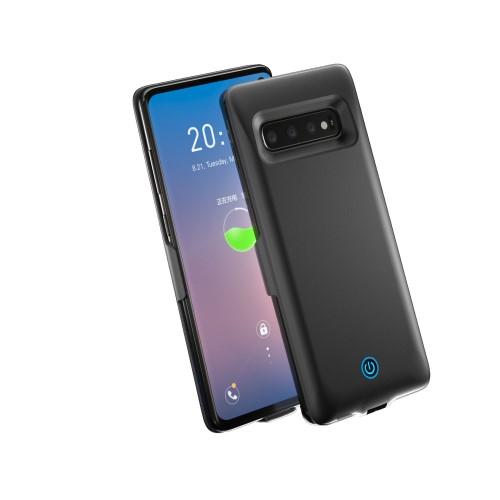 Műanyag töltőtok / hátlap - beépített 6500mAh akkumulátor, EXTRA USB port, egyszerre két készüléket tölthet fel! - FEKETE - SAMSUNG SM-G973F Galaxy S10