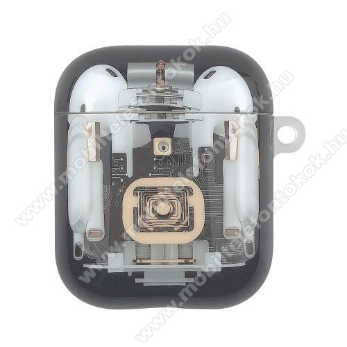 Műanyag védő tok Apple AirPods / AirPods 2-höz -töltőnyílás - FEKETE
