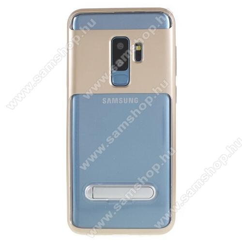 Műanyag védő tok / átlátszó hátlap - szilikon szegély, kitámasztható - ARANY - SAMSUNG SM-G965 Galaxy S9+