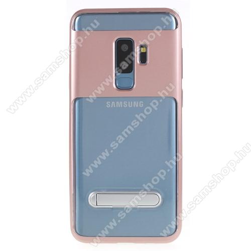 Műanyag védő tok / átlátszó hátlap - szilikon szegély, kitámasztható - ROSE GOLD - SAMSUNG SM-G965 Galaxy S9+
