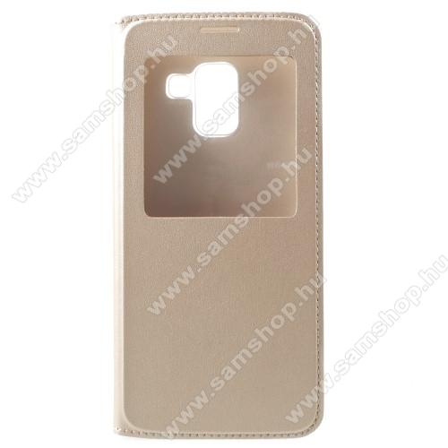 Műanyag védő tok / bőr hátlap - ARANY - oldalra nyíló S-View Cover flip, hívószám kijelzés, asztali tartó funkció - SAMSUNG SM-A730F Galaxy A8 Plus (2018)