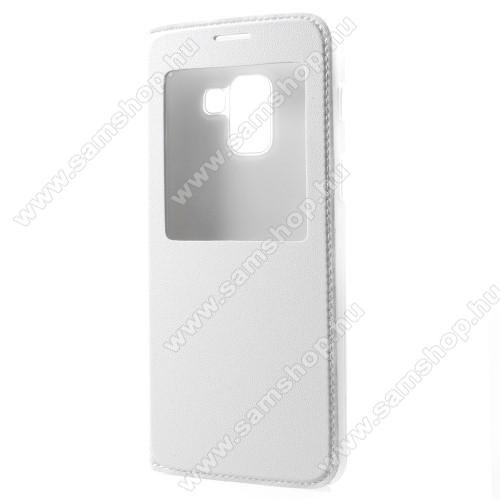 Műanyag védő tok / bőr hátlap - FEHÉR - oldalra nyíló S-View Cover flip, hívószám kijelzés, asztali tartó funkció - SAMSUNG SM-A730F Galaxy A8 Plus (2018)