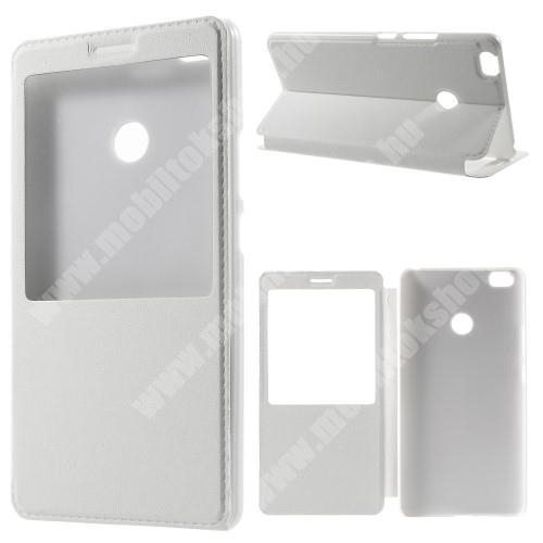 Műanyag védő tok / bőr hátlap - FEHÉR - oldalra nyíló S-View Cover flip, hívószám kijelzés, asztali tartó funkció - Xiaomi Mi Max