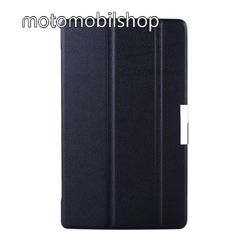 Műanyag védő tok / bőr hátlap - oldalra nyíló flip cover, TRIFOLD asztali tartó funkció - FEKETE - Lenovo Tab S8-50